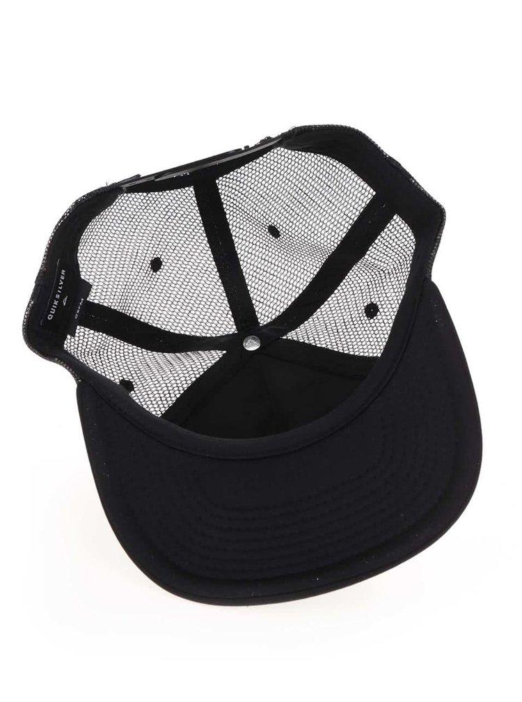 Černá pánská kšiltovka se vzorem a síťovanou zadní částí Quiksilver