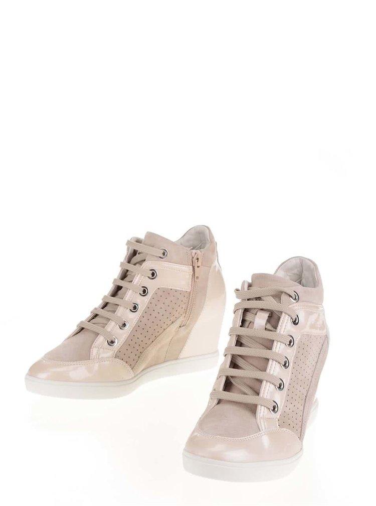 Pantofi sport înalți bej cu detalii lucioase Geox Eleni