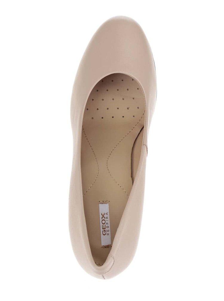 Pantofi bej Geox Annya din piele cu aspect lucios
