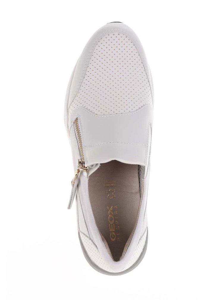 Krémové dámské kožené tenisky Geox Omaya