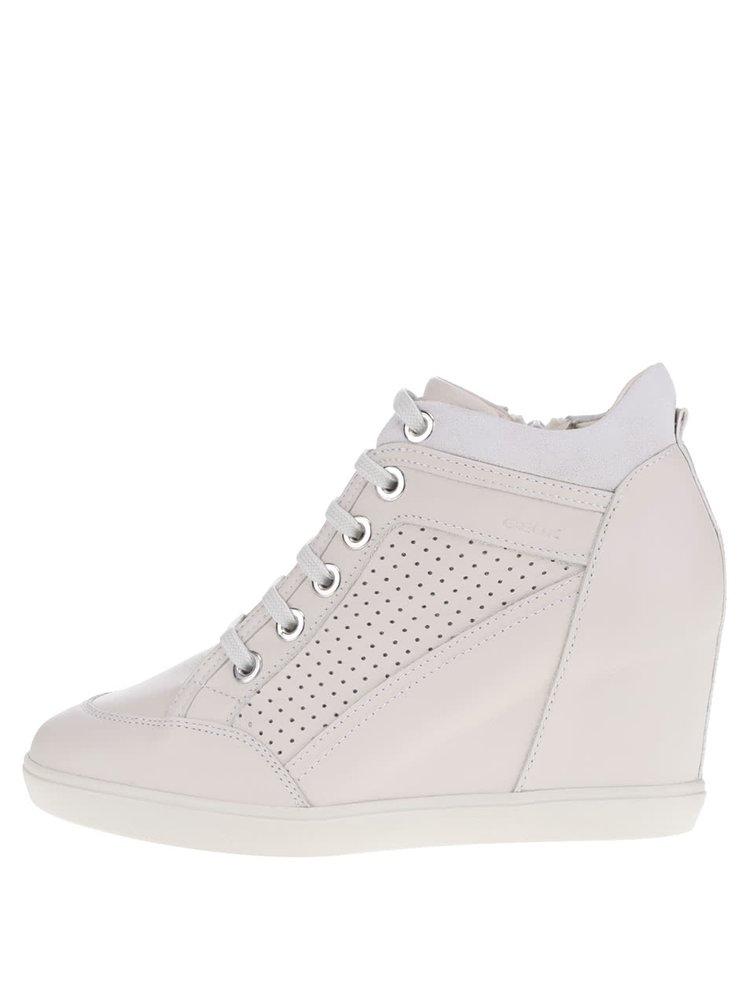 Pantofi crem și gri cu detalii lucioase Geox Eleni