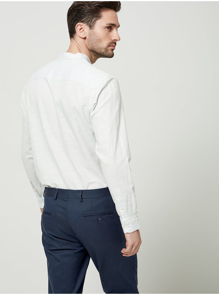 Cămașă albastru deschis Selected Homme One Jacque slim fit din bumbac cu model discret și guler tunică