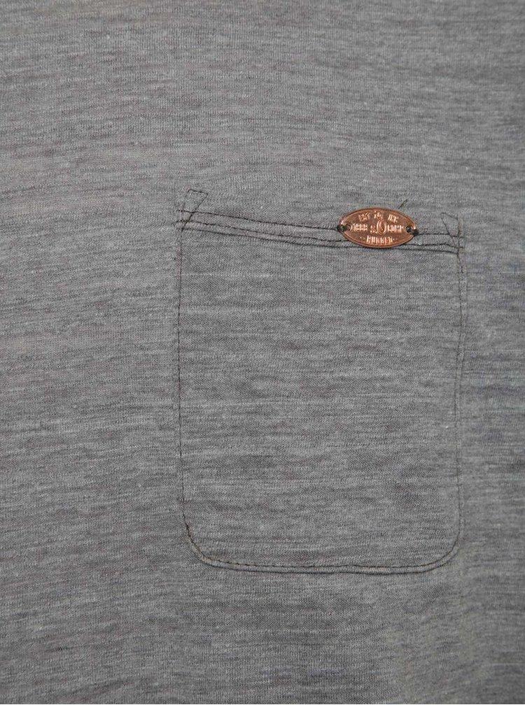 Šedé pánské žíhané slim fit triko s kapsou s.Oliver