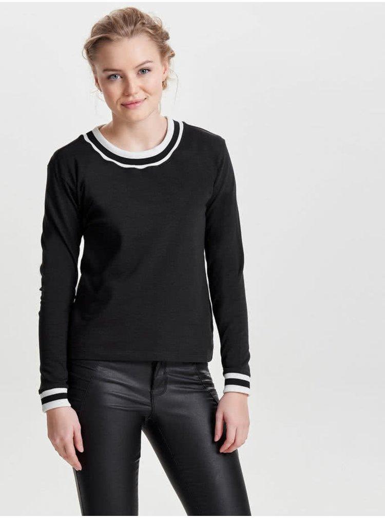 Bluza neagra Jacqueline de Yong Dusty cu detaliu alb