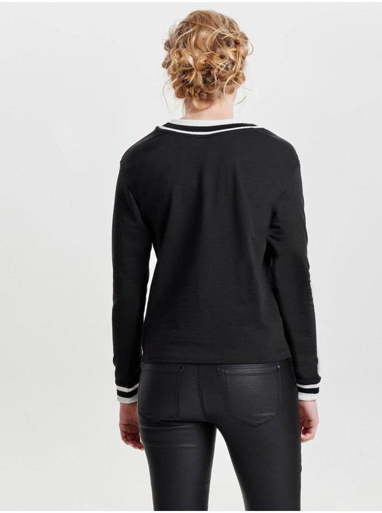 Bluză neagră Jacqueline de Yong Dusty cu detaliu alb