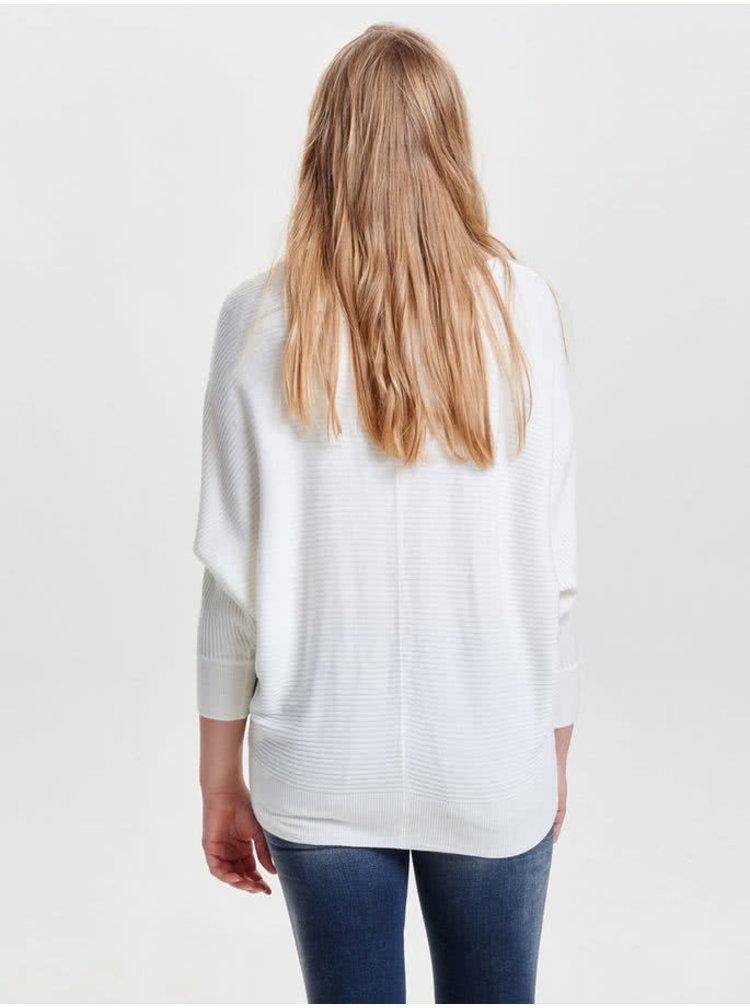 Pulover alb Jacqueline de Yong Flip cu model discret în dungi