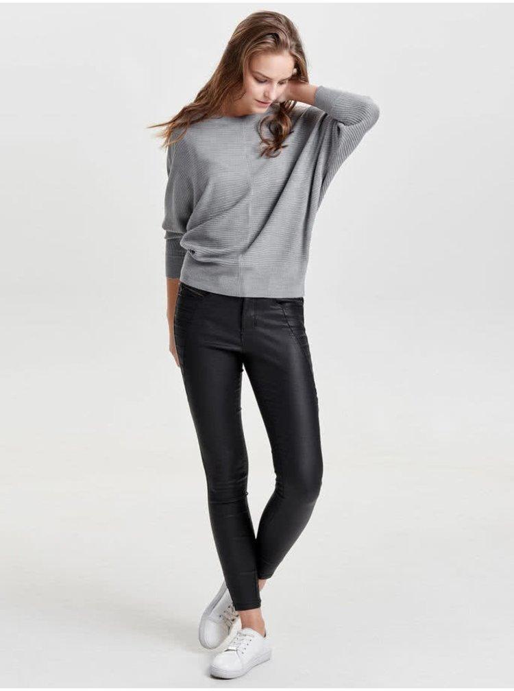 Šedý žebrovaný svetr s netopýřími rukávy Jacqueline de Yong Flip