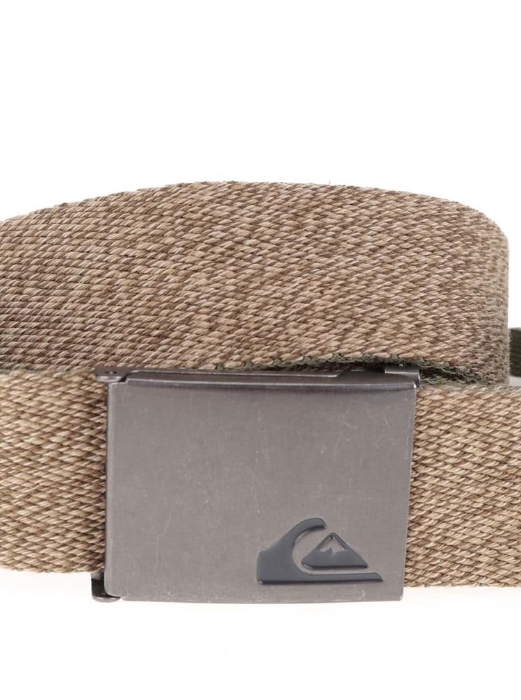 Světle hnědý žíhaný pánský pásek s kovovou přezkou Quiksilver