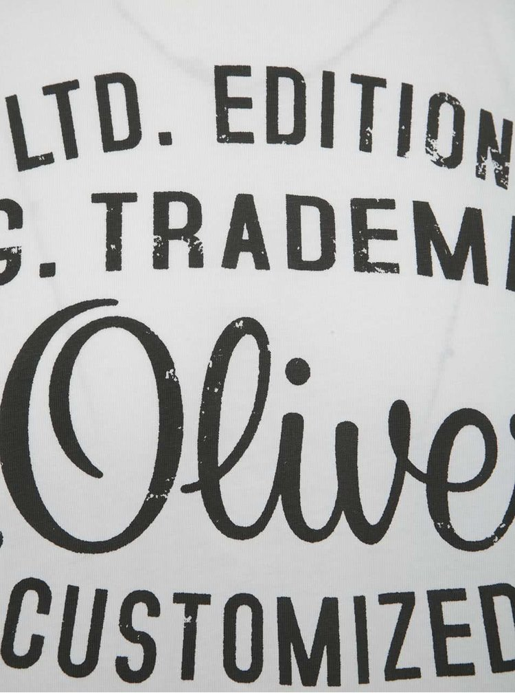 Bílé pánské triko s černým potiskem s.Oliver
