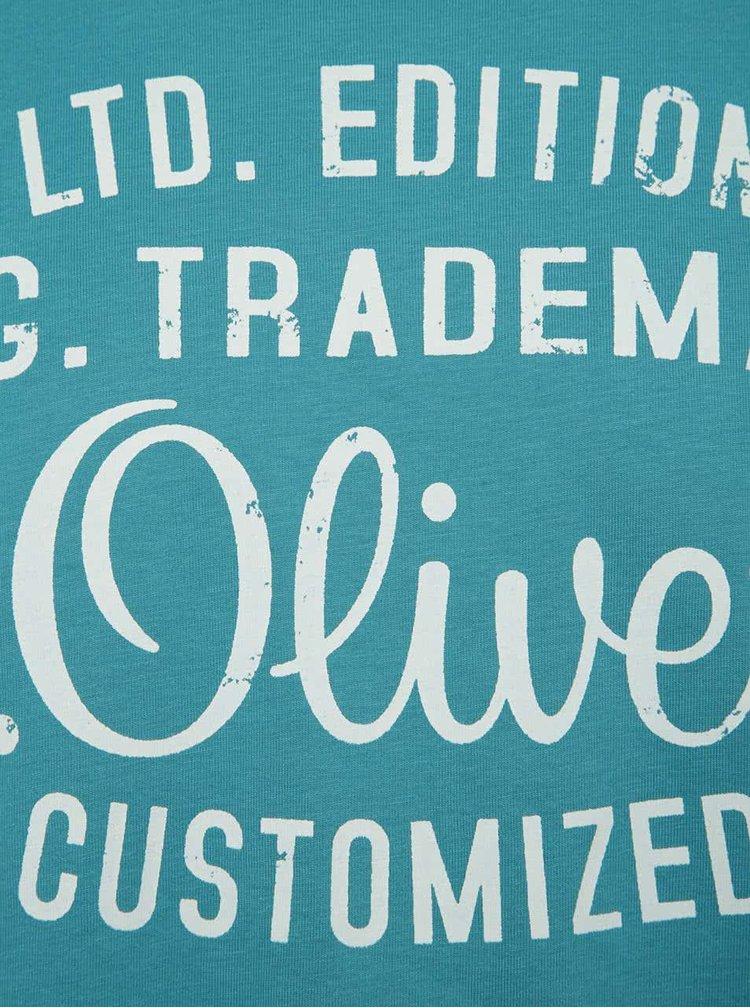 Tricou albastru s.Oliver din bumbac cu logo print