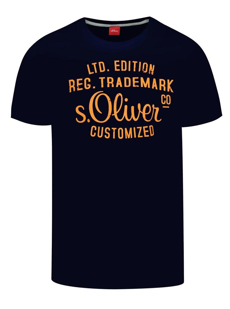Tmavě modré pánské triko s oranžovým potiskem s.Oliver
