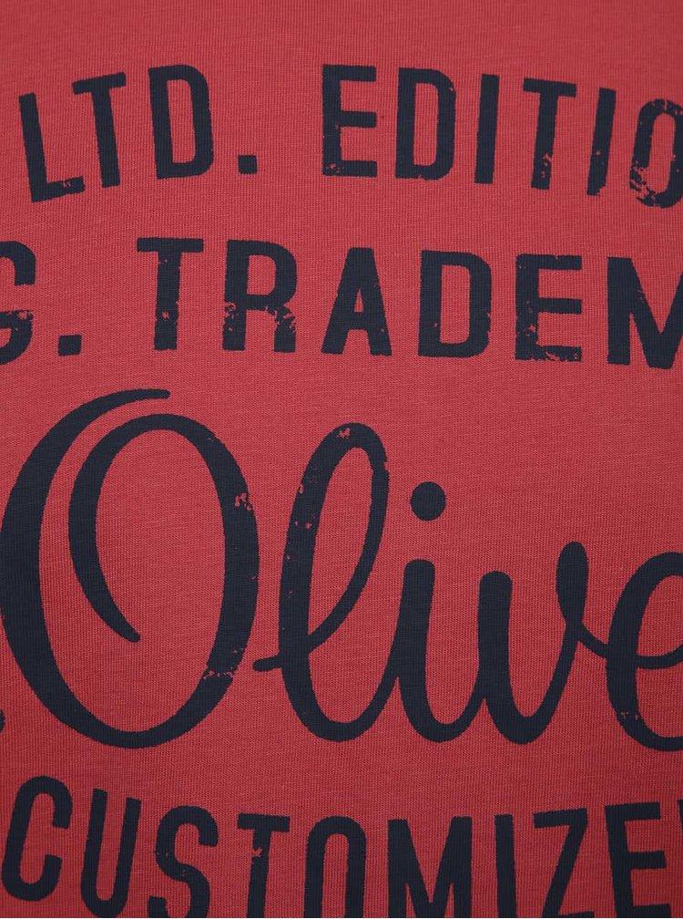 Tricou rosu zmeura s.Oliver cu logo print