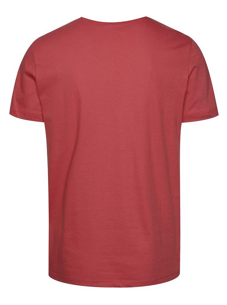 Červené pánské triko s modrým potiskem s.Oliver
