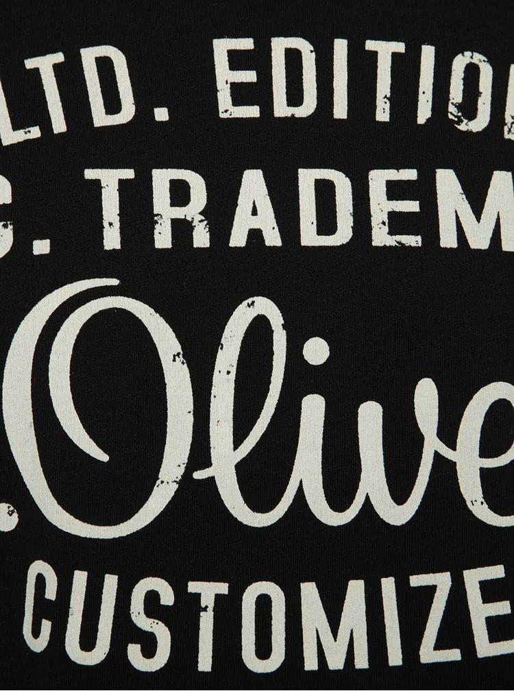 Černé pánské triko s bílým potiskem s.Oliver