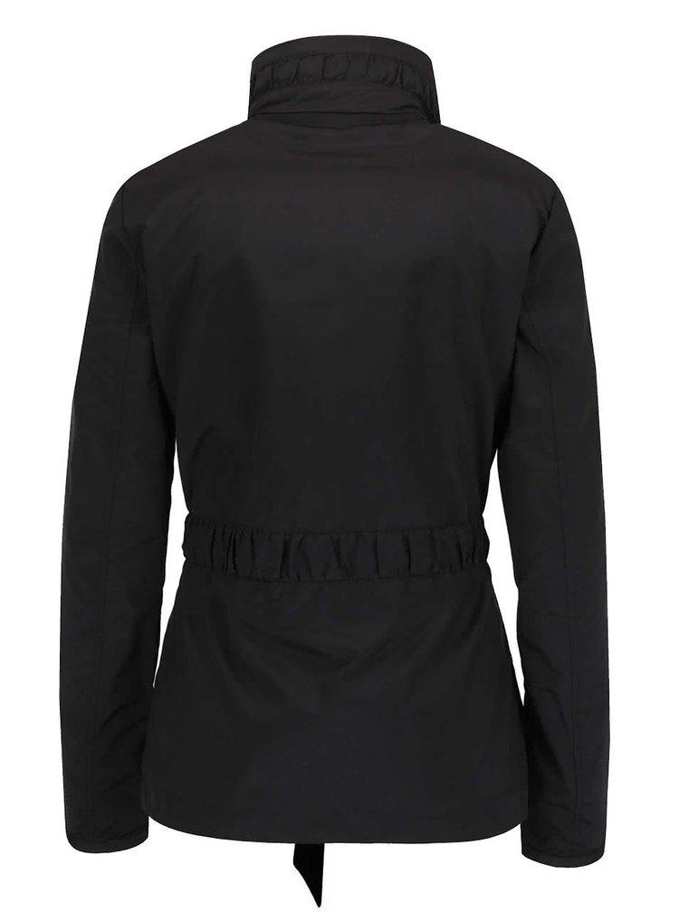 Jacheta neagra impermeabila Geox cu cordon in talie