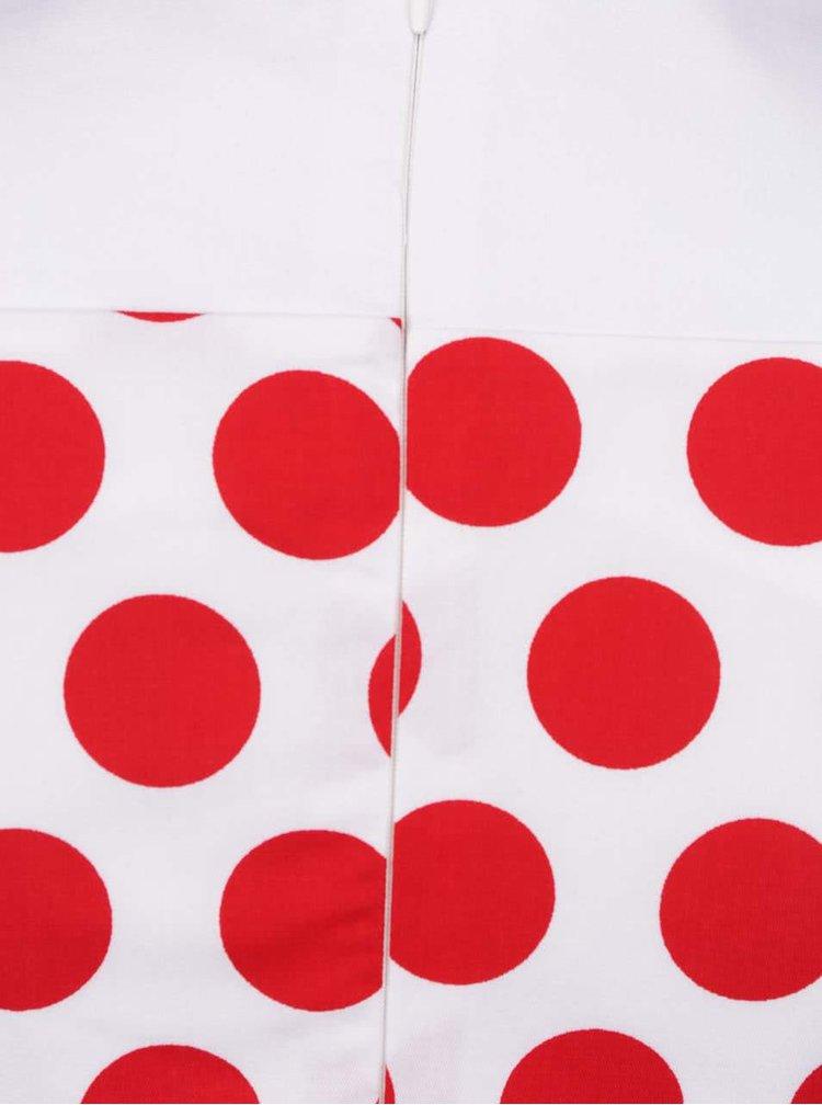 Rochie alb fildeș&roșu fără mâneci Smashed Lemon cu imprimeu cu buline