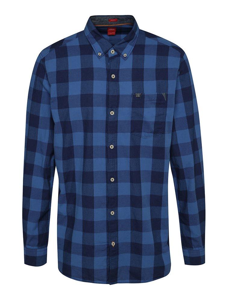Modrá pánská kostkovaná košile s.Oliver
