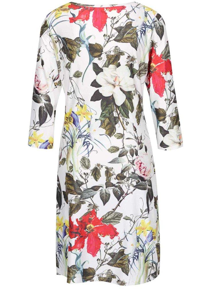 Rochie albă midi cu model floral Smashed Lemon cu mâneci trei sferturi
