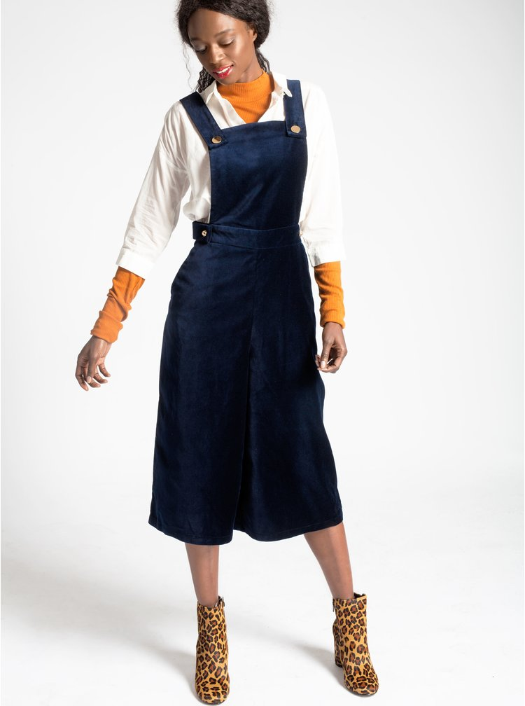 Tmavě modré zvonové sametové 3/4 lacláče Dorothy Perkins