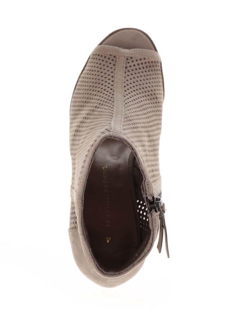 Béžové perforované kotníkové boty na podpatku Dorothy Perkins