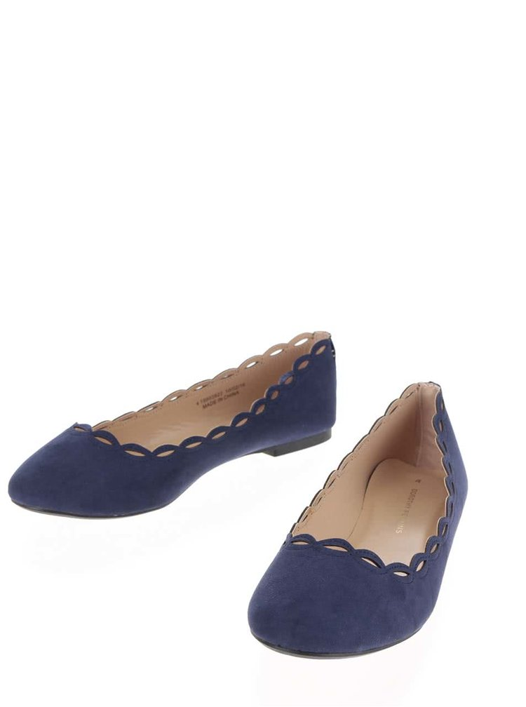 Tmavě modré baleríny v semišové úpravě Dorothy Perkins