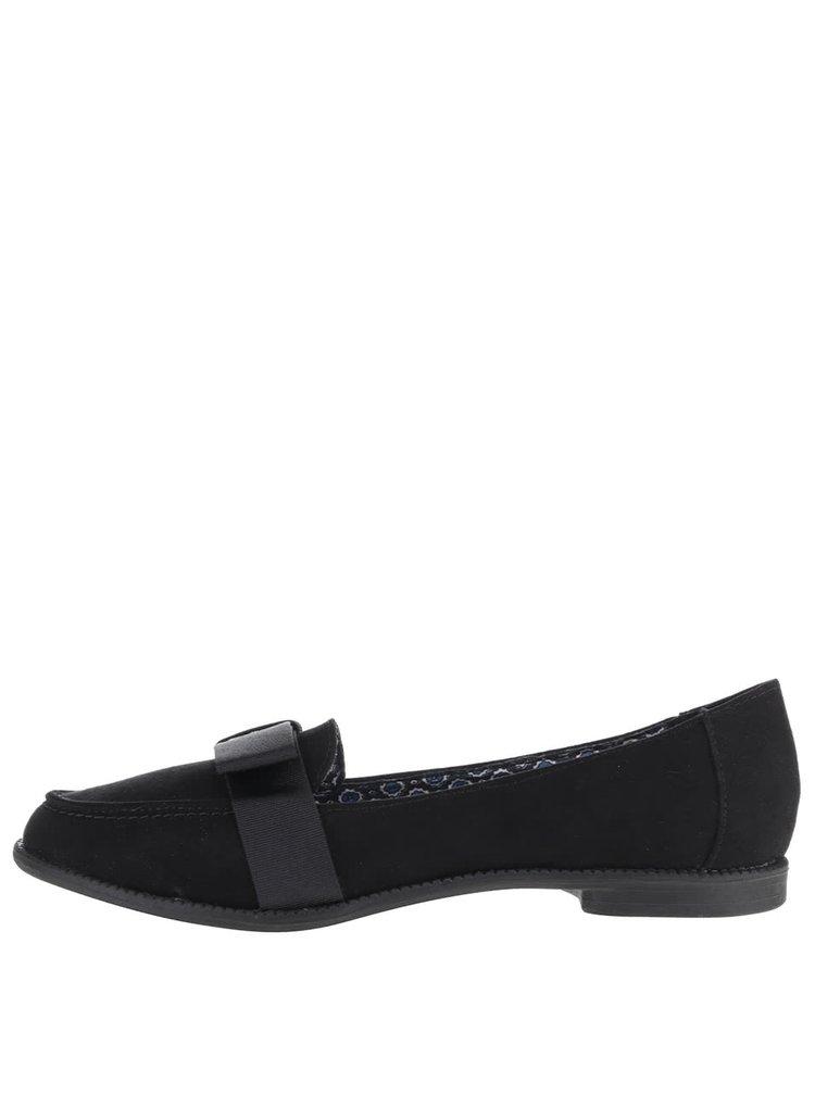 Pantofi loafer negri Dorothy Perkins cu fundă decorativă