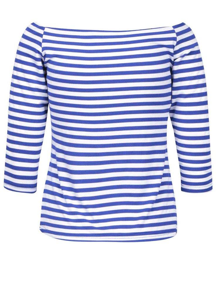 Bluză albastră în dungi Dolly & Dotty Gloria cu decolteu pe umeri
