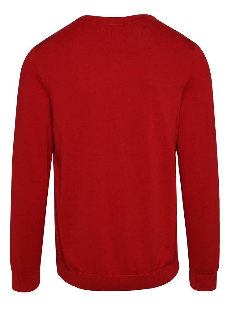 Pulover roșu din jerseu s.Oliver cu decolteu În V