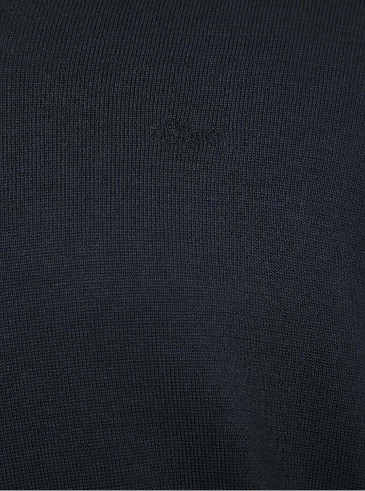 Tmavě modrý pánský svetr s véčkovým výstřihem s.Oliver