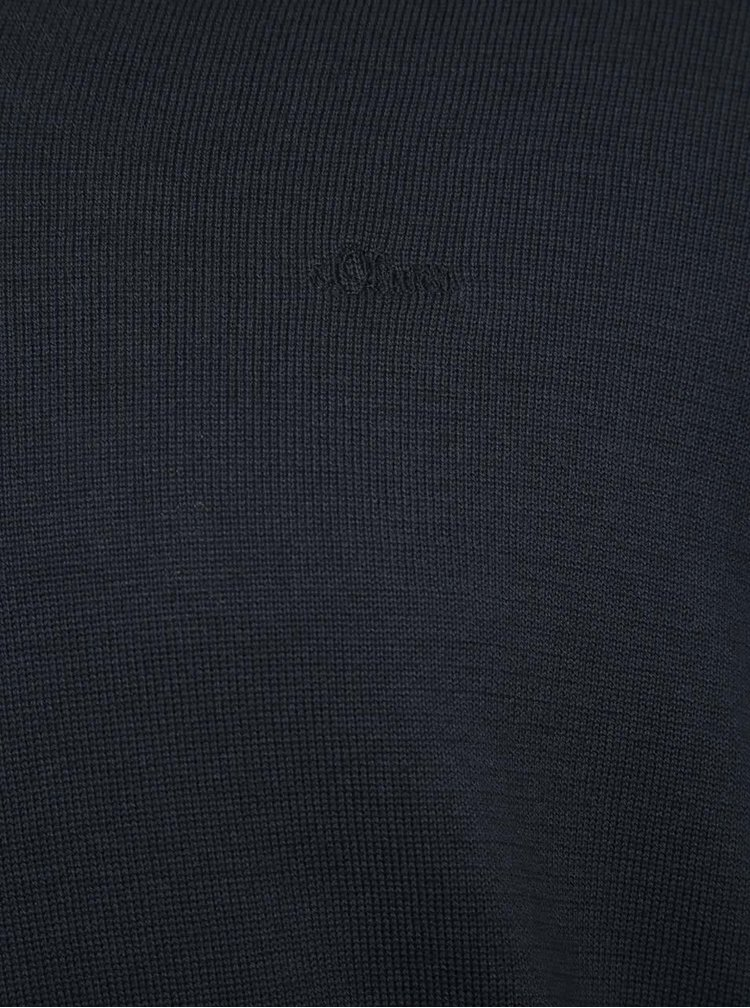 Pulover bleumarin din jerseu s.Oliver cu decolteu In V