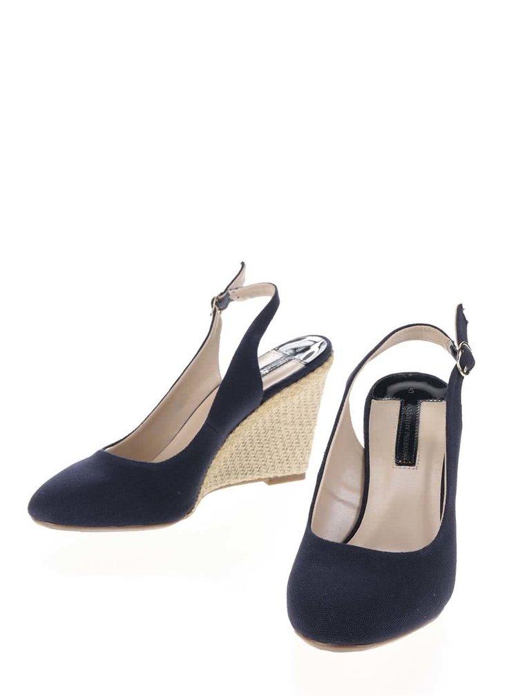 Pantofi cu talpă wedge bleumarin Dorothy Perkins