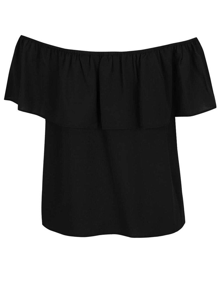 Bluza neagra Dorothy Perkins cu volan decorativ