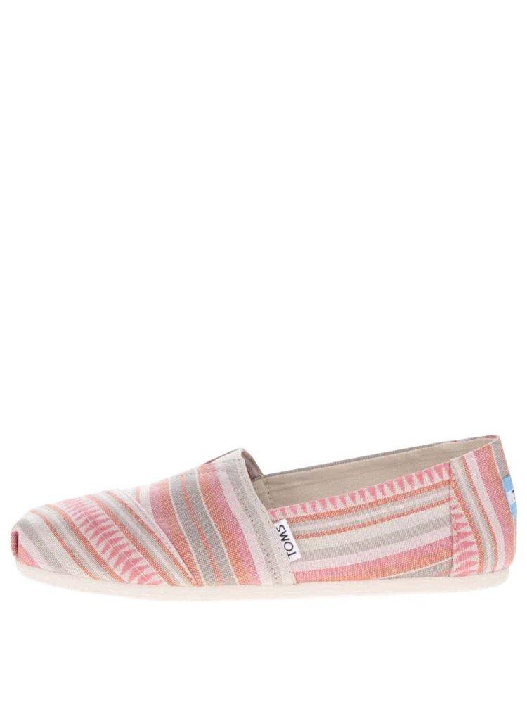 Krémovo-růžové dámské pruhované slip on TOMS Stripe