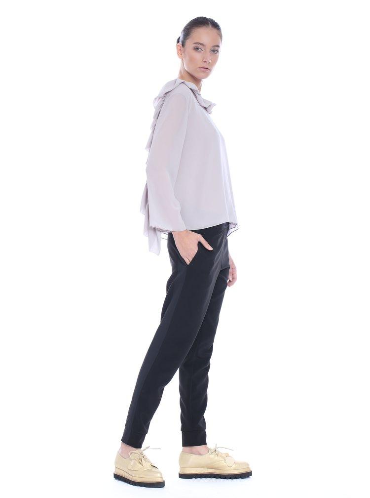 Bluza gri deschis Silvia Serban cu volane duble