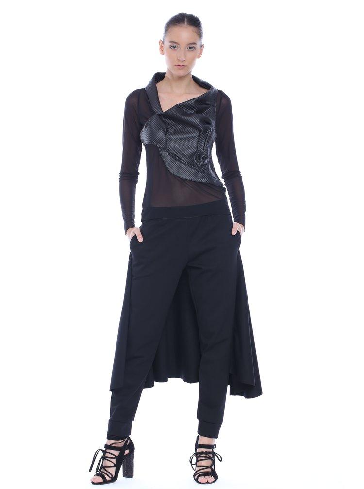 Pantaloni negri Silvia Serban cu aplicatie ampla pe partea din spate