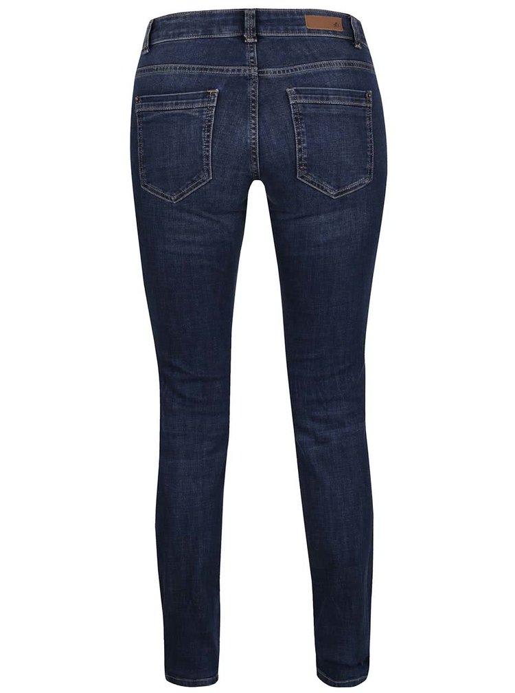 Tmavě modré dámské skinny džíny s vyšisovaným efektem s.Oliver