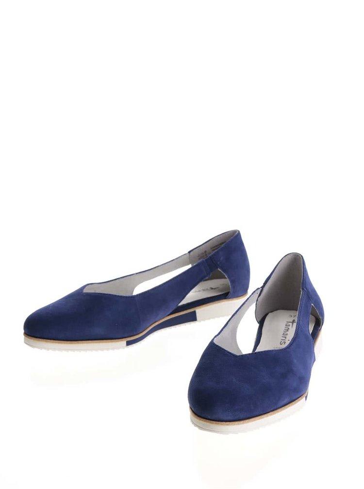 Modré semišové baleríny Tamaris