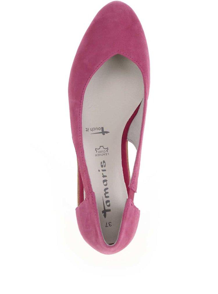 Balerini roz Tamaris din piele cu decupaje