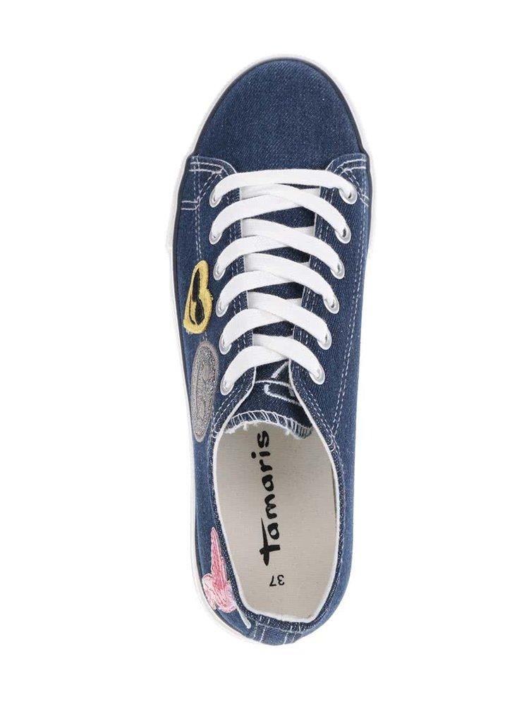 Modré džínové tenisky s nášivkami Tamaris