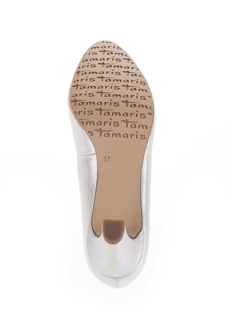 Lodičky na podpatku ve stříbrné barvě Tamaris
