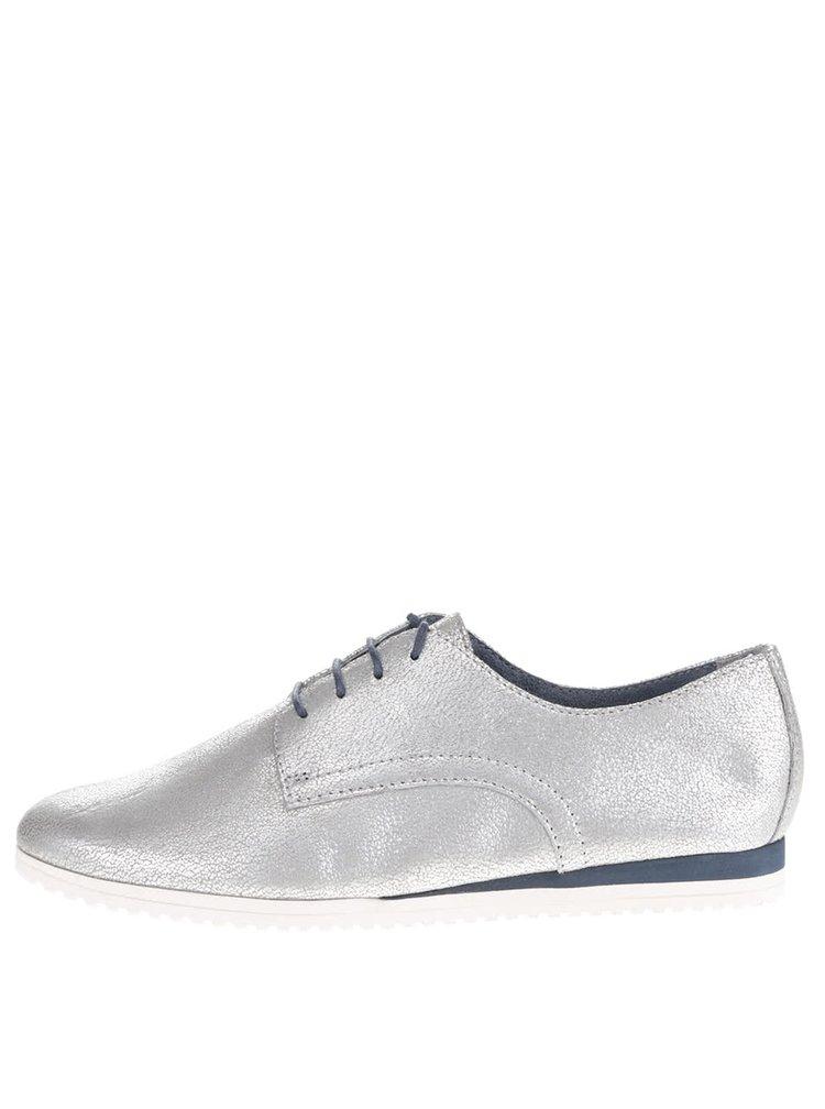 Pantofi argintii Tamaris din piele