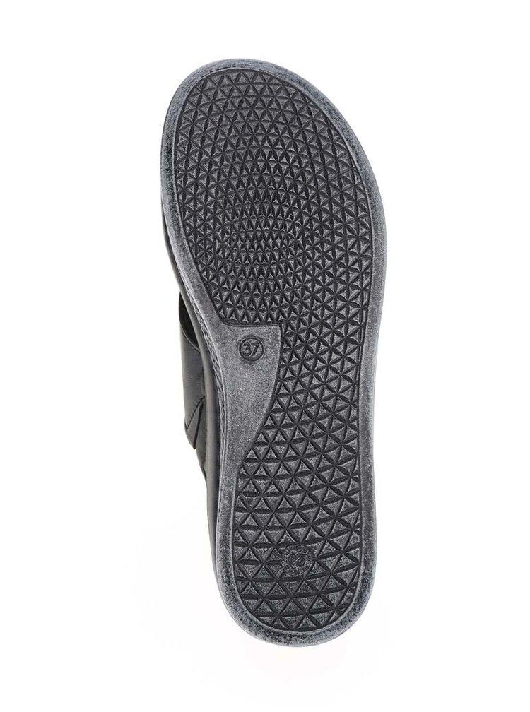 Papuci negri cu platforma Tamaris din piele