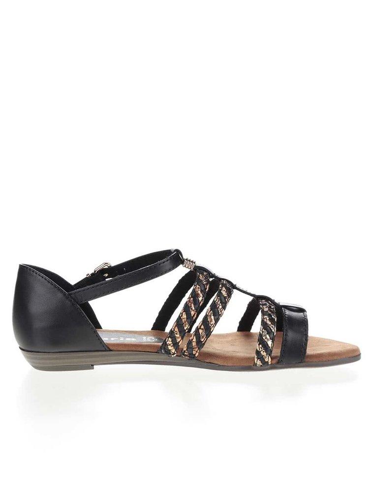 Sandale negre Tamaris cu detalii aurii
