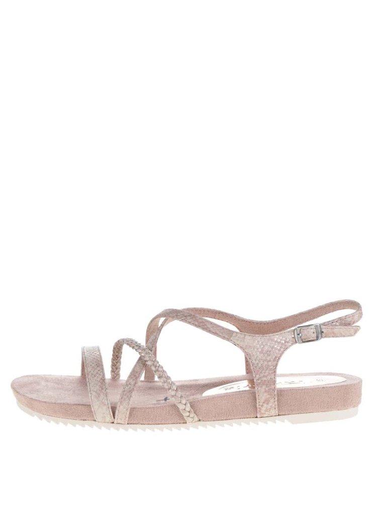 Sandale roz Tamaris cu aspect strălucitor și design încrucișat