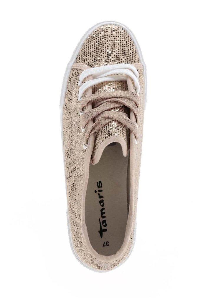 Pantofi sport bej & auriu Tamaris cu aspect strălucitor