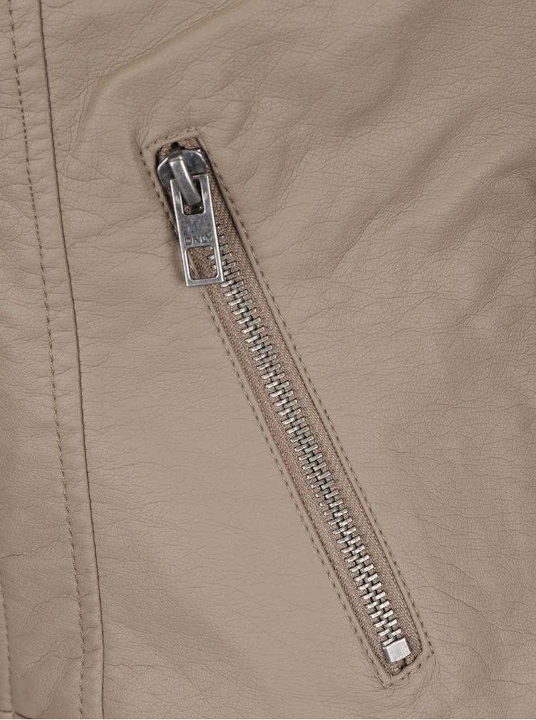 Béžový koženkový křivák s prošívanými detaily ONLY Carly