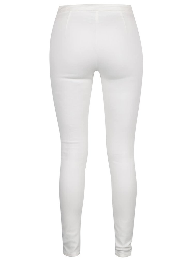 Pantaloni skinny alb fildeș ONLY Dallas cu fermoar lateral