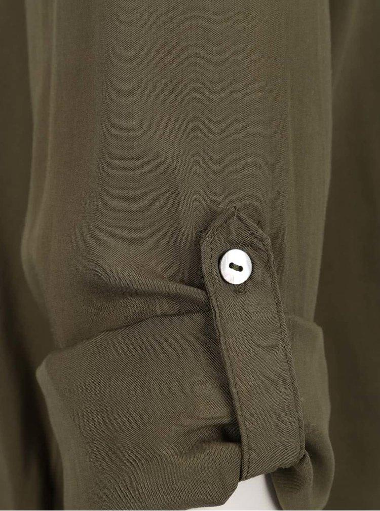 Khaki halenka s véčkovým výstřihem ONLY Nova
