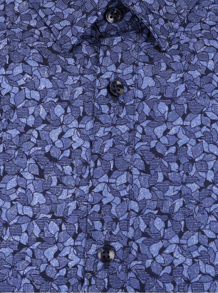 Cămașă albastră Jack & Jones slim fit din bumbac cu model