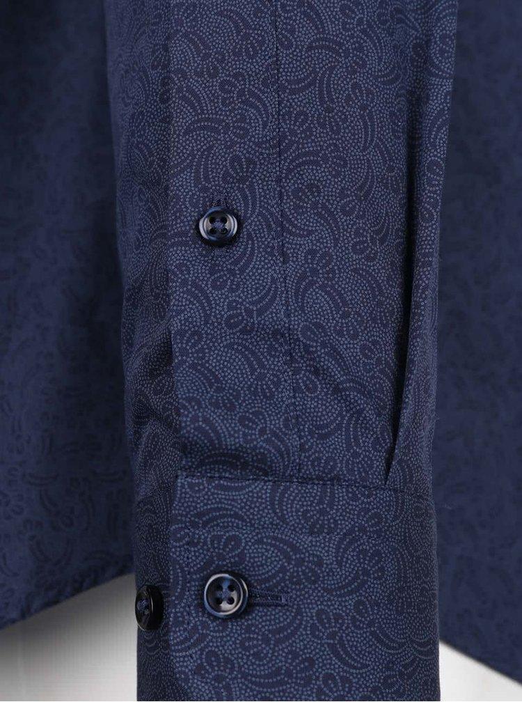Cămașă albastru închis Jack & Jones slim fit din bumbac cu model discret